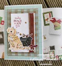 Stampin' Up! Sweet Stockings Designer Series Paper, Christmas Card created by Kathryn Mangelsdorf Gold Ribbons, Stampin Up, Card Stock, Christmas Cards, Stockings, Joy, Paper, Sweet, Projects
