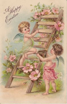 Wings of Whimsy: A Happy Easter - free to use in your personal art #vintage #edwardian #victorian #cherub