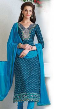 Andaaz Fashion presents new arrival designer semi stitched Blue Churidar Suit with Blue Chiffon Dupatta with Quarter Sleeve, Below Knee Length, Asymmetrical Neck Kameez with price $54.69. Embellished with Resham, Stone, Embroiderey. http://www.andaazfashion.us/blue-churidar-suit-with-blue-chiffon-dupatta-dmv13279.html