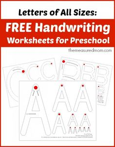 Free handwriting worksheets for preschool letters of all sizes the measured mom. Free handwriting worksheets for preschool: Letters of All Sizes! Preschool Writing, Preschool Letters, Letter Activities, Learning Letters, Preschool Kindergarten, Preschool Learning, Writing Activities, Writing Letters, Preschool Letter Worksheets