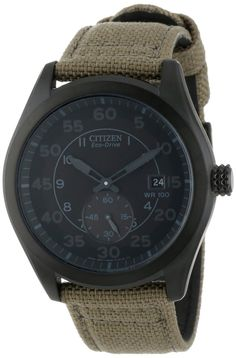 Citizen Men's Eco-Drive Tan Nylon Strap Watch Men's Watches, Sport Watches, Luxury Watches, Cool Watches, Watches For Men, Citizen Watches, Swatch, Citizen Eco, Beautiful Watches