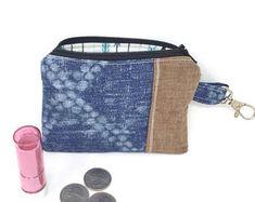Indigo coin purse, cute zipper pouch, indigo makeup bag, small zip pouch, change purse, cute cosmetic bag, cute makeup bag, gifts for her