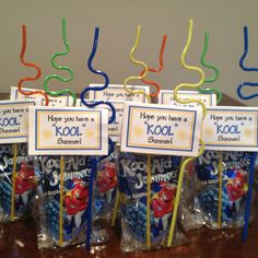 "Kid's school gift.  Last day of school treat for Hudson's classmates.  Sign says ""hope you have a KOOL summer"" and includes a Kool-aid drink and a fun straw."