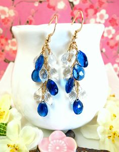 Reserved for Yvonne  Kyanite blue quartz and clear by KBlossoms, $95.00
