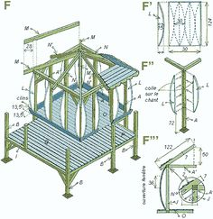 PLAN CABANE ENFANTS PILOTI - Communauté Leroy Merlin                                                                                                                                                                                 Plus Japanese Fence, Playhouse Plans, Diy Playground, Permaculture, Play Houses, Leroy Merlin, Gazebo, Pilot, Outdoor Structures