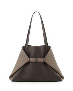 L0EHY Akris Ai Small Bicolor Leather Shoulder Tote Bag, Dark Brown
