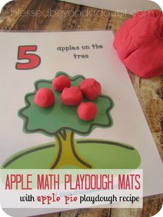 FREE Apple Playdough Mats with Recipe! - Blessed Beyond A Doubt