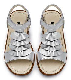 Kai's (sized for 2 - 8 year olds) Kiana, the silver metallic sandal with ruffle trim. www.seekairun.com
