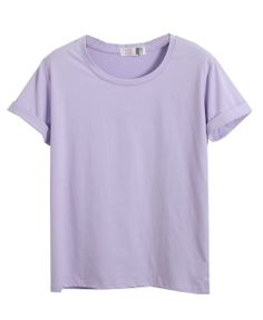 Pure Color Loose Fit Cotton T-Shirt With Cuffed Short Sleeves