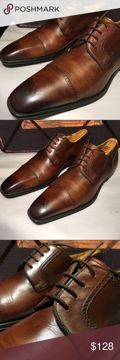 Magnanni Burnished cap toe derby Amazing pair of Magnanni Derby shoes both in comfort and beauty. The leather has some normal creasing that is easily managed with using shoe trees between uses. So, I will include some wood shoe trees.  Size 10.5 Magnanni Shoes Oxfords & Derbys