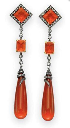 Diamond & Fire Opal Earrings, Art Deco