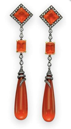 Diamond & Fire Opal Earrings, Art Deco