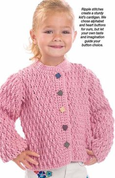 This is a sample of one of the patterns that are in the The Crochet World… Holiday Crochet, Crochet Bebe, Crochet For Boys, Knitting For Kids, Baby Knitting, Knit Crochet, Crochet Baby Cardigan, Crochet Baby Clothes, Toddler Sweater