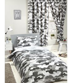 This Grey Camouflage Reversible Double Duvet Cover Set is ideal for creating an Army theme or for a teenagers bedroom. Matching curtains and wallpaper also available plus free UK delivery. This duvet cover is also available in Single Size. Comforter Cover, Duvet Sets, Duvet Cover Sets, Camouflage Bedroom, Army Camouflage, Double Duvet Covers, Single Duvet Cover, Army Bedroom, Bedroom Boys