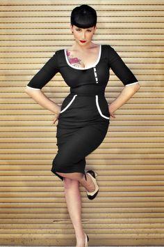 Glamour Bunny - Two Tone Dita von Teese dress black