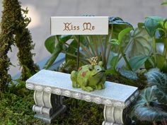 Fairy Garden accessories frog prince - toad - miniature - sign - terrarium - kiss me - fairy tale
