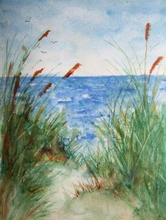 The Beach, Print Of Original Watercolor seascape painting matted,watercolor…