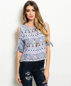 Shopo.in : Buy Printed Blue And White Top online at best price in Bangalore, India