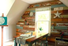 Create new shelves by adding on + inserting display shelves between nailed in walled WooD PalletS... : )