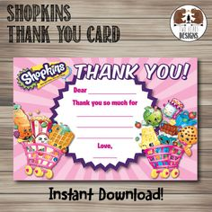 Shopkins Thank You Card. Instant Download by TwoBearsDesigns