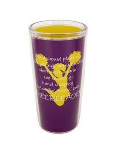 $8.90 Cheerleader Purple & Gold 16oz Double Wall Traveler
