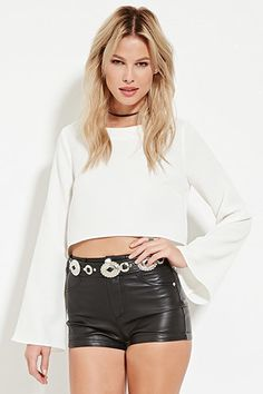 WOMENS - Clothing | WOMEN | Forever 21 black leather high waisted shorts