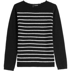 The Kooples Wool-Cashmere Striped Sweater ($132) ❤ liked on Polyvore featuring tops, sweaters, black, long sleeves, stripe top, striped cashmere sweater, fitted tops, stripe sweaters and fitted sweater