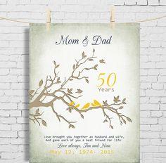 409e25bc1b8cf 50th Wedding Anniversary Gift Anniversary gift for parents parents-inlaw GOLDEN  Anniversary print Anniversary gift for parents from kids