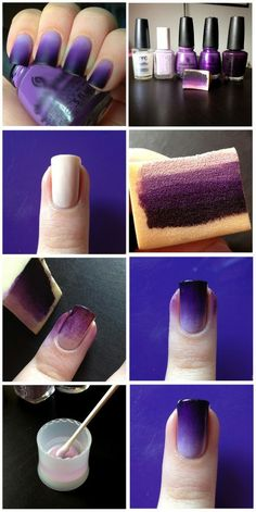 ombre style nails coloring. We need: a white base, 4 shades of the colour we want, a sponge and acetone to clean up. What do you think?