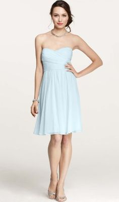 Turmec » light blue floral strapless dress