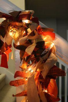 Fall decor lighted rag garland tutorial
