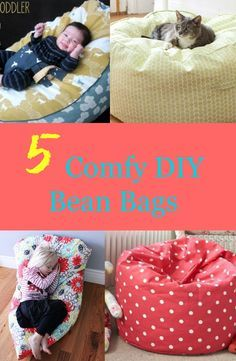 """Bean bags are perfect extra seats in your home. They are portable and very comfy too. Make your own bean bags that are perfect for kids and even adults too. 1. Super Simple DIY Kids Bean Bag Chair YOU WILL NEED: Two (2) pieces upholstery fabric (32"""" x 45"""") One (1) 22"""" zipper One 3.5 …"""