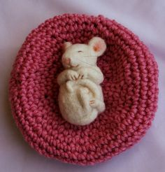 Needle Felted Sleepy Mouse Miniature OOAK by CatGabrielCrafts