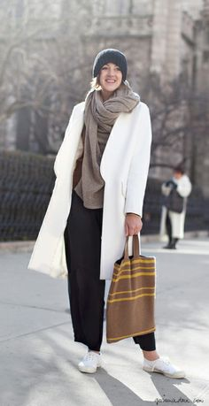 White coat, tote bag, white sneakers, oversize scarf, wide leg trousers, hat / Garance Doré