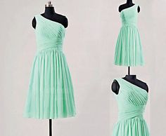 Custom A-line One-shoulder Knee-length Chiffon Pleat Short Bridesmaid Dresses Short Prom Dresses Formal Evening Dresses 2014 New Arrival Dresses 2013, Formal Dresses, Wedding Dresses, Simple Short Dresses, One Shoulder Bridesmaid Dresses, Bridesmaids, Bridesmaid Ideas, Dress First, Homecoming Dresses