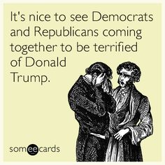 It's nice to see Democrats and Republicans coming together to be terrified of Donald Trump.