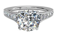 Tapered Pavé Diamond Band Engagement Ring - in Platinum (0.48 CTW)...TOP PICKS