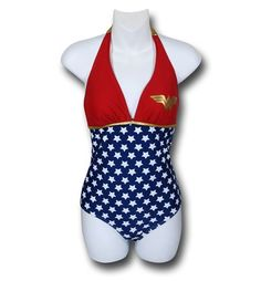 i just fell in love,  I'm gonna have to get this!!! Wonder Woman Halter Plunge One-Piece Swimsuit