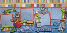 Summer Splashin Swimming 2 Premade Scrapbook Pages Layout 12x12 for Album | eBay
