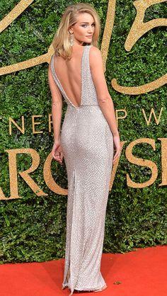 The back of Rosie Huntington Whiteley's beaded blush Burberry dress at the British Fashion Awards