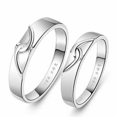 """2 pcs set"" Couple, Ring 18k White Gold Plated (Men's & Women's)  2 pcs set. Men's Size      : 7~12 Women's Size : 4~9.5  Please leave a note to us and mention both size of the rings. Followings combination are welcome.  (Men's+Women's) (Men's +Men's) (Women's +Women's)  Dimension: M..."