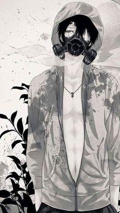 - - Please visit our website to support us! Anime Boys, Sad Anime, Hot Anime Guys, Manga Boy, Manga Anime, Gas Mask Art, Masks Art, Anime Gas Mask, Character Art