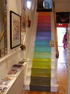 This would so be the stairs going down to the huge playroom in the basement of my dream house :) kids would love it! Painted Staircases, Painted Stairs, My Home Design, House Design, Rainbow House, Rainbow Decorations, Dream House Interior, Basement Remodeling, House Rooms