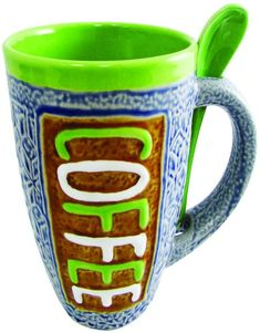 AmazonSmile: Mug - Large Coffee Mug 16 Ounce Glazed Ceramic with Spoon in Holder Novelty Coffee Mug and Tea Cup (Green): Kitchen & Dining Best Coffee Mugs, Large Coffee Mugs, Gift Mugs, Gifts In A Mug, Green Kitchen, Kitchen Dining, Mug Tree, Cool Mugs, Glazed Ceramic