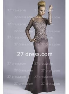 2014 Long Sleeve Mother of the Bride Dresses Illusion Crew Neck Lace Sheer  Floor Length Chiffon Mermaid Prom Gowns 2dfacdd857b9