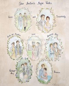 Major Works of Jane Austen.  11x14 Art  Print.  by mashalaurence, Etsy