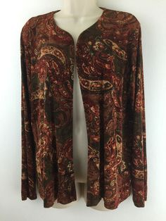 Chicos Travelers 2 Open #Jacket Terracotta Floral Paisley #Print. Slinky Knit. Size 12 14 M L #Chicos