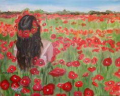 Field of Poppies-A 20X16 Original Acrylic Painting on Stretch Canves