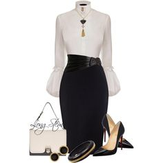 A fashion look from July 2014 featuring Alexander McQueen blouses, Christian Louboutin pumps and Elizabeth Locke bracelets. Browse and shop related looks. Black and white fashion Office Fashion, Work Fashion, Fashion Looks, White Fashion, Classy Fashion, Fashion Beauty, Business Attire, Business Fashion, Mode Outfits