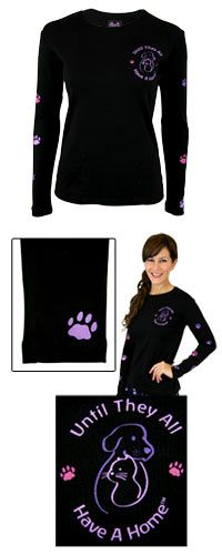 Until They All Have a Home™ Climbing Purple Paws Long Sleeve Tee at The Animal Rescue Site